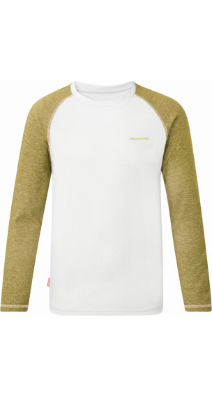 Craghoppers NosiLife Barnaby Long-Sleeved T-Shirt Boys Optic White/Light Olive Marl